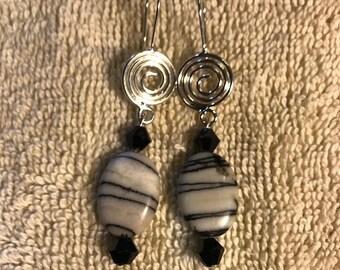 Ladies zebra jasper earring with swirl ear wire.