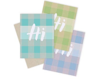 Hi Plaid Notecard Sets - 3 Color Options