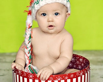 3 - 6 months  Baby Christmas Hat Elf Stocking Crochet Baby Photo Prop