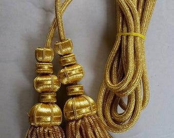 Gold Bullion Wire Fringe Tassels Cord,spanish,decoration,church,vestment,cord, MADE TO ORDER
