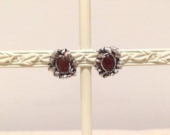 Carnelian Ribbon Design Stud Earrings