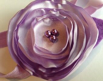 Lavender Satin Flower Headband