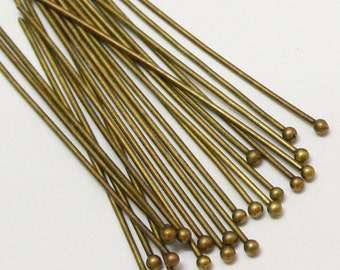 100pcs 50mm Antique Bronze Brass Ball End Headpins 22 Gauge