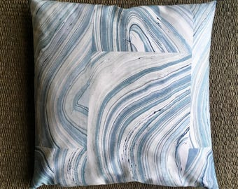 Blue Agate Pillow Cover, 24x24 Floor Pillow Cover, Candice Olson Kravetcollections, Navy Blue Decorative Pillows, Agate Floor Cushions