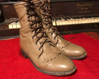 Justin Roper Western Boots/Womens 6B/Tan Leather/Lace Up/Removable Kiltie/Cowgirl/Horseback Riding/Fair/Rodeo/Rockabilly/1970s