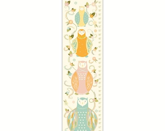 Boho Owl Growth Chart - Canvas Growth Chart, Nursery Decor, Custom Canvas Growth Chart, Girl's Room Decor