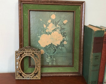 Vintage Floral Picture || Baroque Italian Ornate Frame || Floral Print Antique || Shabby Chic || Hollywood Regency || O