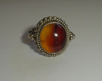 Silver ring with tawny agate poss sterling vintage size UK N 1/2 US 6 3/4