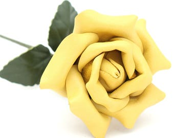 Leather rose yellow third Anniversary wedding gift Long Stem Flower 3rd Leather Anniversary Mother's Day Prom