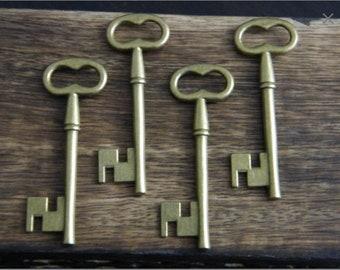 10 x Antique Bronze Brass Skeleton Key Large Vintage Keys