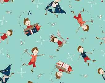 Greatest Adventure Main Aqua by Riley Blake Designs - Super hero Cape Boy - Quilting Cotton Fabric - choose your cut