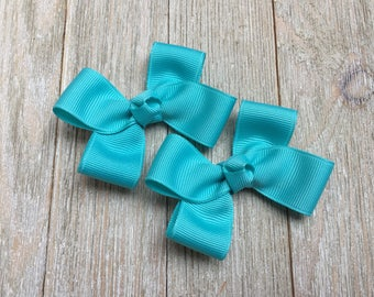Turquoise Hair Bows,Pigtail Hair Bows,3 Inch Wide Hair Bows,Alligator Clips,Birthday Party Favors