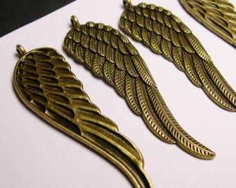 Angel Wings pendant - charms - 4 pcs - antique bronze  - big wings pendant - 77mm,BAZ16