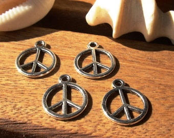 20pcs peace sign, Necklace charms, peace charm, bracelet charms, jewelry making charms, charms for necklaces, jewelry components