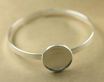 2PCS silver Bracelet with 20mm Round Pad Cabochon Setting BLB05b
