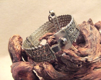 Tribal silver cuff bracelet -- antique Kuchi jewelry - open work with diamond pattern  -- pin closure -- Heavy Patina  FREE SHIPPING