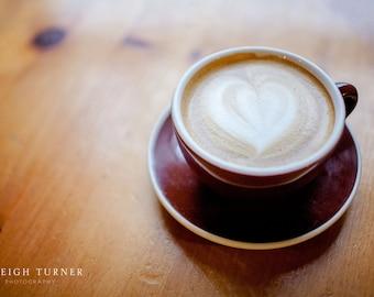 Coffee Shop Print Heart Coffee Foam Home Decor Kitchen Print & Canvas