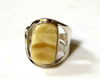 Baltic Amber Jewelry Butterscotch Ring Adjustable Untreated Natural Yellow Milky 925 Silver 8.1 gram