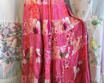 MEDIUM/LARGE, Patchwork Hippie Boho Tiered Bohemian Pink Shabby Chic Skirt