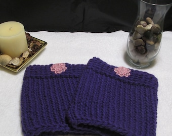 Boot Cuffs Purple Boot Cuffs Winter wear Accessories Boot accessory Flowered Boot Cuffs Loomed Boot Cuffs Loomed Gifts