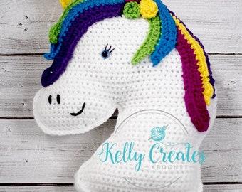 Unicorn stuffed animal cuddler pillow stuffy horse