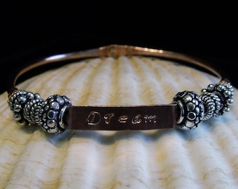 Copper Hand Stamped Rustic Charm Dream Bracelet Bangle
