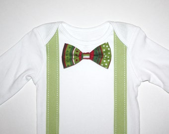 Red Green White Christmas Baby Boy Bow Tie Onesie Free Shipping