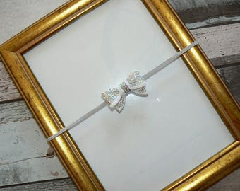 Baby bow Sequin silver 0/3 months headband