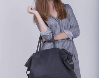 Ash Grey Shoulder Bag, Leather Handbag, Travel Bag, Oversized Shoulder Bag, Oversized Purse, Large Crossbody Leather Bag, Large Handbag