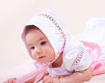 Maya Christening Bonnet, Baptism Bonnet, Baby Girl Bonnet