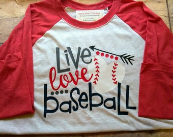 Live Love Baseball Shirt Baseball Mom Baseball Raglan Plus Size Raglan Youth Baseball Shirts Custom Baseball Shirt Ball Field Shirt