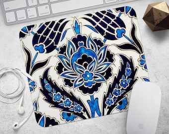 Mouse Pad Round Mousepad Blue Marble Print Mouse Mat Mouse Pad Idea Gift Office Mousemat Rectangular Mousemat Moroccan Tile Print Mousepad