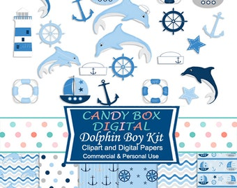 Dolphin Nautical Clipart and Digital Papers, Baby Shower Clip Art Mini Kit - Commercial Use OK