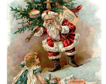 Santa Christmas Card - Victorian Christmas Card  - 5x7