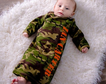 Newborn boy Newborn girl name gown - camo baby shower gift - baby girl outfit - newborn boy coming home outfit - hat sold separate