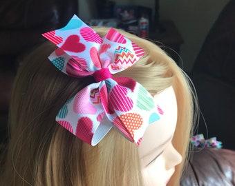 "4"" Heart Print Hairbow"