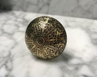 Metal Knob Old Gold & Black Stamped with Floral Design, Cabinet Knobs, Decorative Hardware Furniture Pulls, Drawer Pull, Item #605747495