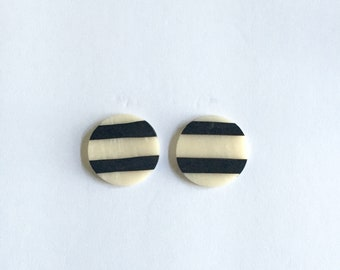 Large Bold Black and White Striped Clay Stud Earrings