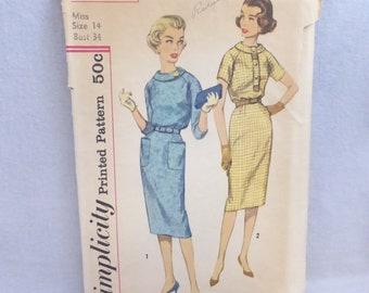 Vintage Mid Century Simplicity Pattern 3070 Misses Raglan Sleeve Dress Size 14 Factory Fold