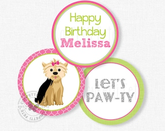 """Puppy Party Centerpiece Circles, Dog Birthday Decorations, Yorkie Party Decorations, Printable 4"""" Party Circles"""