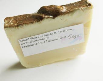 Sage Soap - Fragrance Free Unscented Soap - Natural Handmade Cold Process Lard Olive Oil - Easter Gift