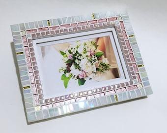 MOSAIC PICTURE FRAME, Blush Pink White Decor, Wedding Gift, Baby Shower Gift, Nursery Décor, 5 x 7 Mosaic Photo Frame, Birthday Gift