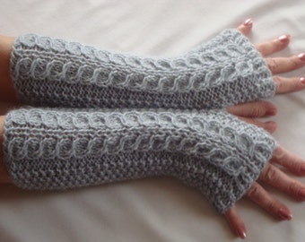 Alpaca Arm Warmers. Fingerless Gloves.Knit. Silver Cable long. Winter.Soft.Women's Gift.