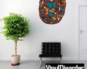 Aztec Wall Decal - Wall Fabric - Vinyl Decal - Removable and Reusable - AztecUScolor002ET