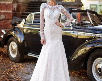 """Wedding dress """"CHARLOTTE"""" with hand embroidered by French lace and guipure macrame"""