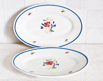 Set of 2 Little Vintage French Oval GIEN Handmade Paint Serving Dishes || Floral Decor - Shabby Chic Interior