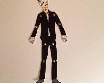 David Bowie Blackstar doll. Perfect gift for Bowie fans. This paper doll comes with a little sticky disc magnet so you can display your doll