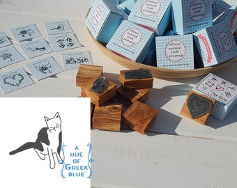 Greece Inspired Olive Wood Stamp in Box - Greek Cat
