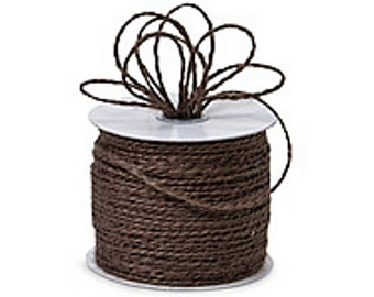 "CHOCOLATE BROWN 1/16"" x 25yds Jute Burlap 2-ply Twine (Free Shipping!)"