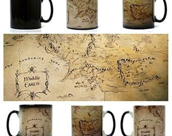Middle Earth Map, Lord of The Rings Mug - Morph Magic Mug - Heat changing